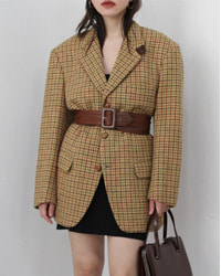 (mitsumine)check wool jacket
