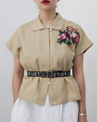 (Flower)embroidery Linen shirt