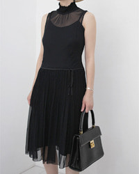(comme ca ism)black chiffon dress
