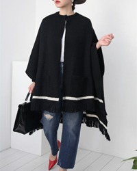 (GALANCE FOR JIYU-KU)knit wool cape